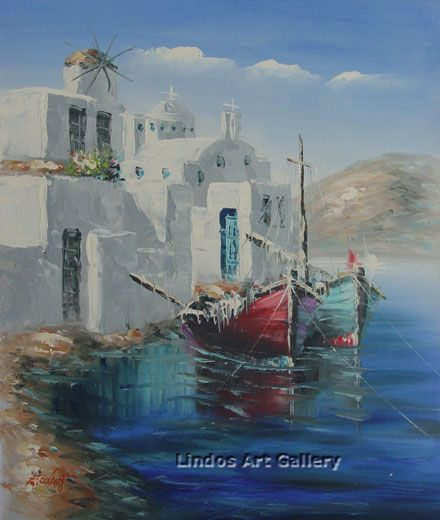 Greek Island Fishing Boats Oil Painting