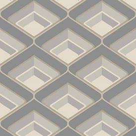 Grandeco Geometric Chevron Stripe Pattern Wallpaper Metallic Silver Glitter Motif A16004