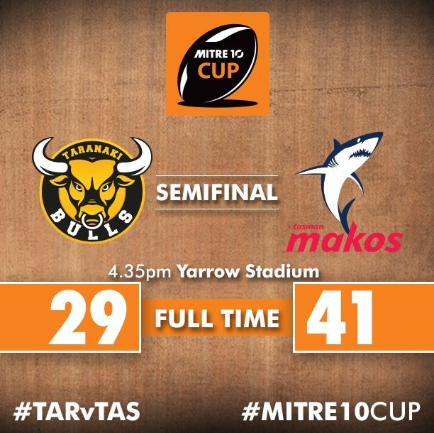 Tasman Makos will face Canterbury Rugby in the Premiership final after a 41 - 29 win over hosts Taranaki Rugby. :( Next year Bulls OK!