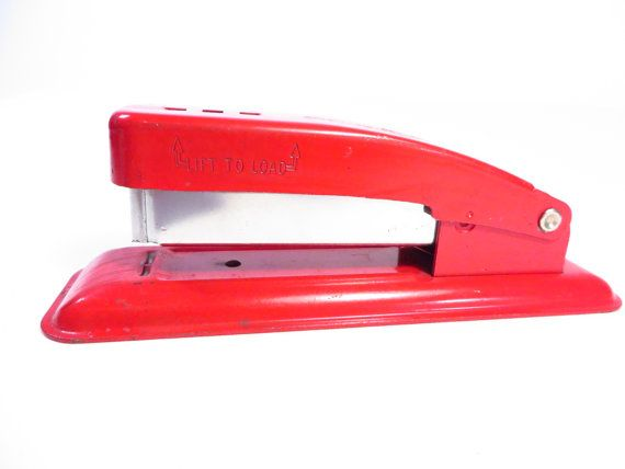 Vintage Swingline CUB  Red Metal Stapler  Red by MonochromeVintage, $12.50
