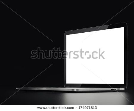 silver laptop on a black background  - stock photo