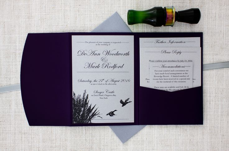 duck hunting wedding invitations http://bemyguest.co.nz/archives/item/darling-ducks-purple-pocketfold-wedding-invitation/