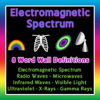 Electromagnetic Spectrum Definitions for Word Walls and Bulletin Boards  This is a set of 8 words for Physics or Chemistry that can be used to study the Electromagnetic Spectrum.   There is a total of 16 cards -- one card with the name of the spectrum, the wavelength range and some visuals, and one card with details about the function of the waves in that part of the spectrum. (Please see the preview.)