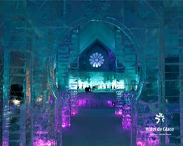 Hotel de Glace -- Quebec. Every winter from Jan-Mar, a hotel made entirely of ice and snow is constructed.