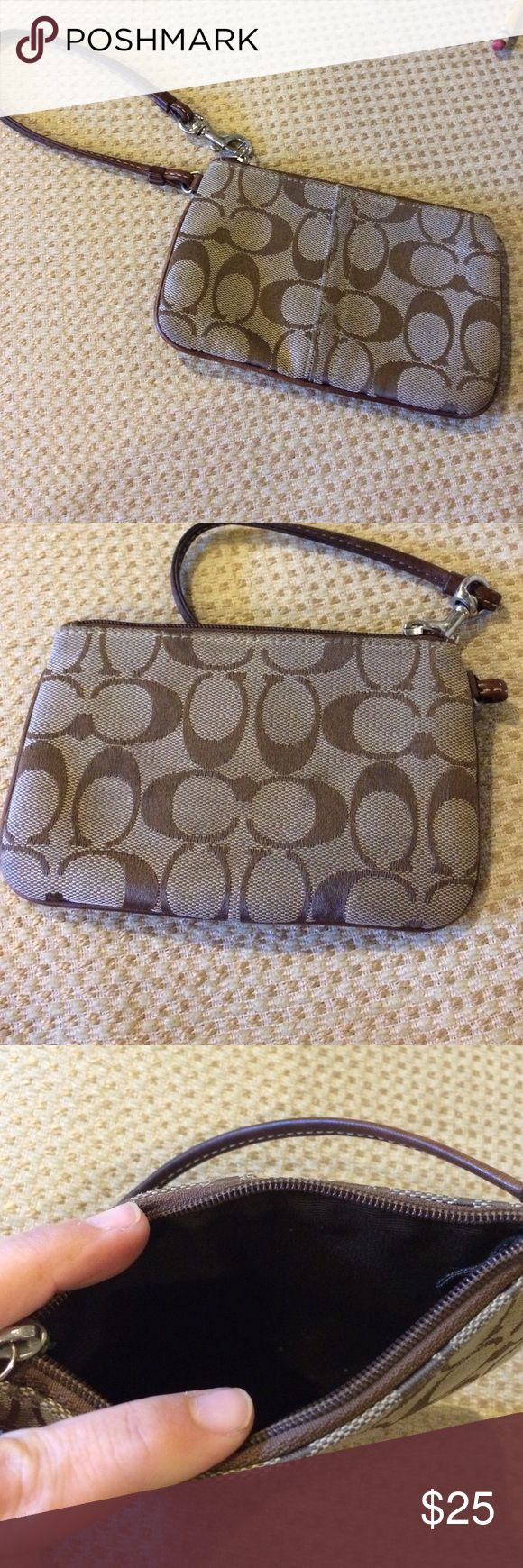 Coach Wristlet Coach Wristlet.  Signature Coach wristlet wallet in excellent condition. Coach Bags Clutches & Wristlets