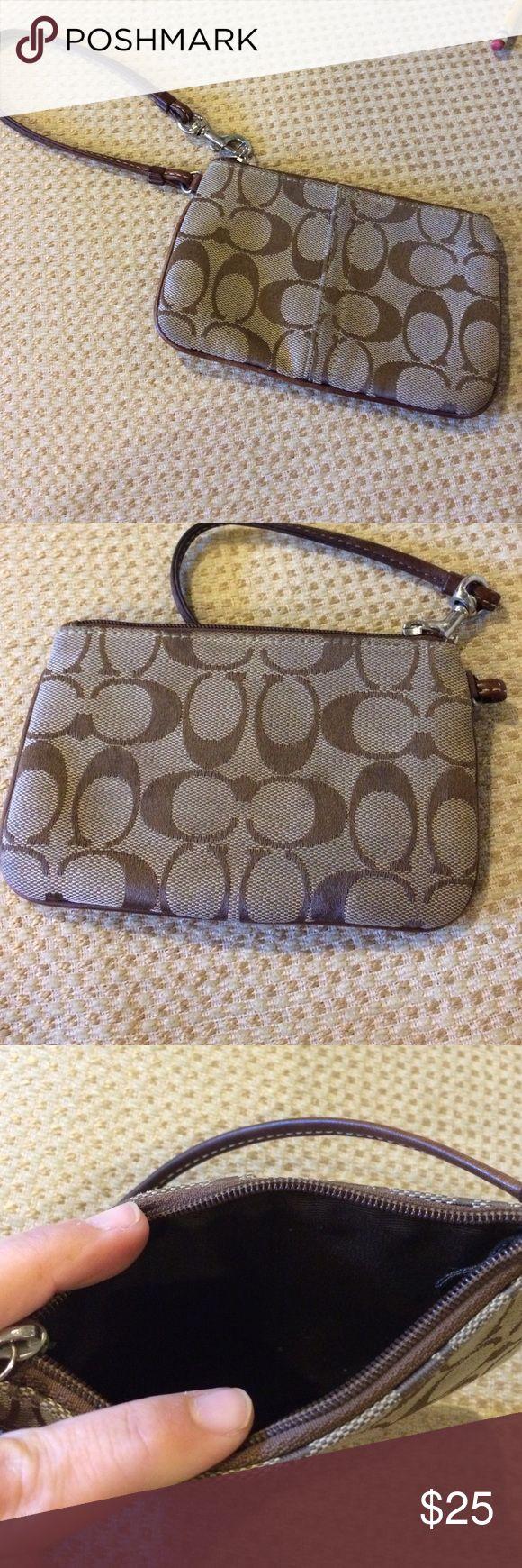 Coach Wristlet Coach Wristlet.  Signature Coach wristlet wallet in excellent condition. Coach Bags Clutches & Wristlets