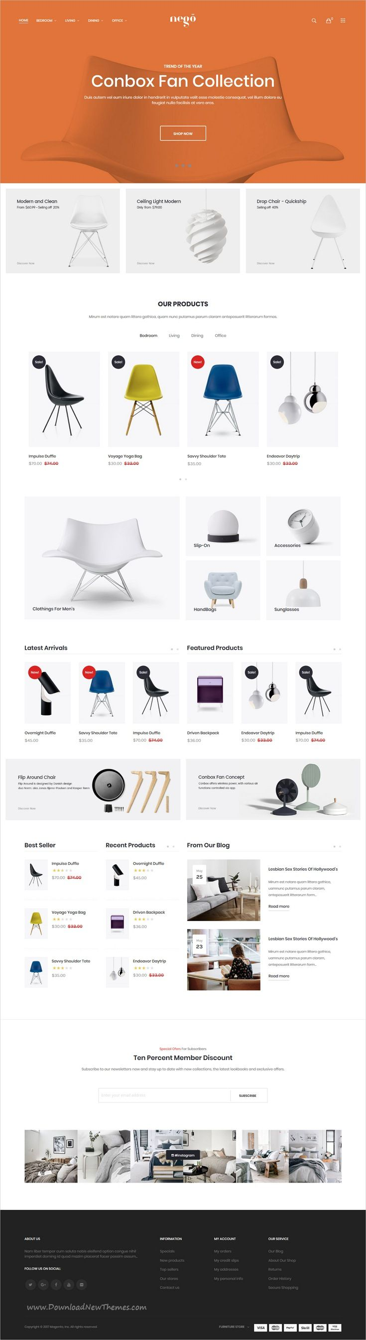 Nego is clean, minimalist and modern design responsive #Magento theme for stunning #furniture store #eCommerce website with 6 niche homepage layouts download now..