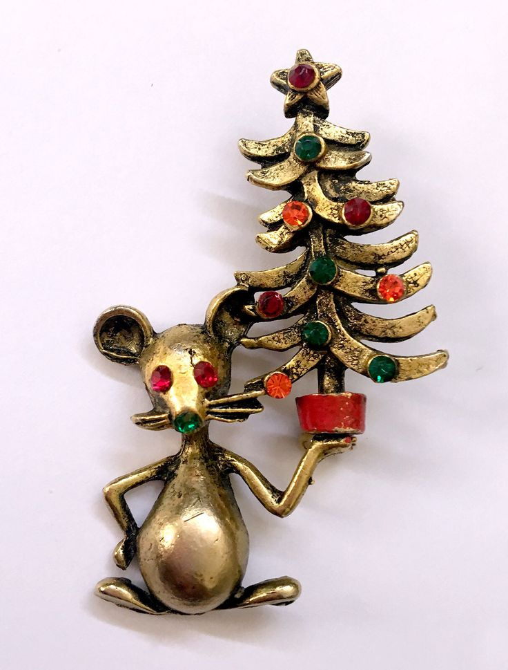 Excited to share the latest addition to my shop: Mouse Holding Up a Christmas Tree Pin, Butler & Wilson Design #etsy