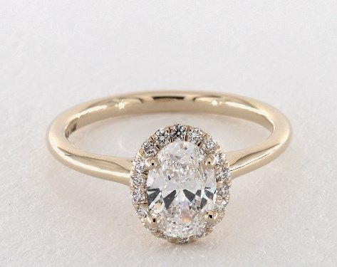 Pave Halo Diamond Engagement Ring (Oval Center)   14K Yellow Gold   17302Y14