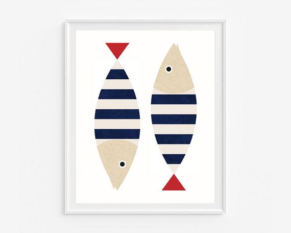 Nautical nursery art Fish illustration Digital di DeLierreKids