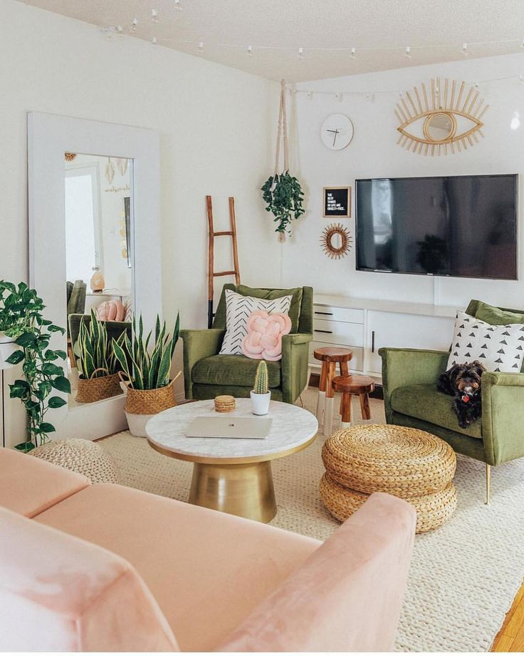 Living Room Olive Green And Blush Mid Century Living Room Decor Mid Century Living Room Living Room Design Modern