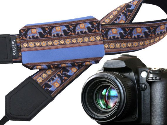Camera Strap with pocket. DSLR / SLR Camera Strap. Lucky Elephant camera strap.  More Lucky Elephants wait for you here: https://www.etsy.com/shop/InTePro?ref=hdr_shop_menu&search_query=elephant  If you decide to choose another design camera strap with pocket, please take a look here: https://www.etsy.com/shop/InTePro/items?ref=hdr_shop_menu&search_query=pocket   --- Product description ---  This adorable camera st...