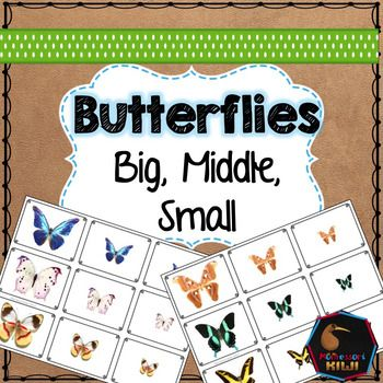 A sorting by size activity with real photos of butterflies. Child sorts between Big, Medium and Small. A great pre-math and language activity.11 sets of butterflies33 pictures in totalSuitable for Montessori You may also be interested in:Color SortingDinosaur sortingThings that go togetherButterfly Puzzle Matching