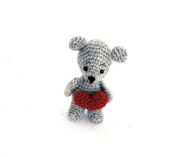 Mini MOUSE with Heart, Love You Miniature, Crochet Mouse Doll, Tiny Rodent #Doll, Little Pet, Amigurumi Animal, Soft #Valentine's Gift, #Cutie puppet by crochAndi