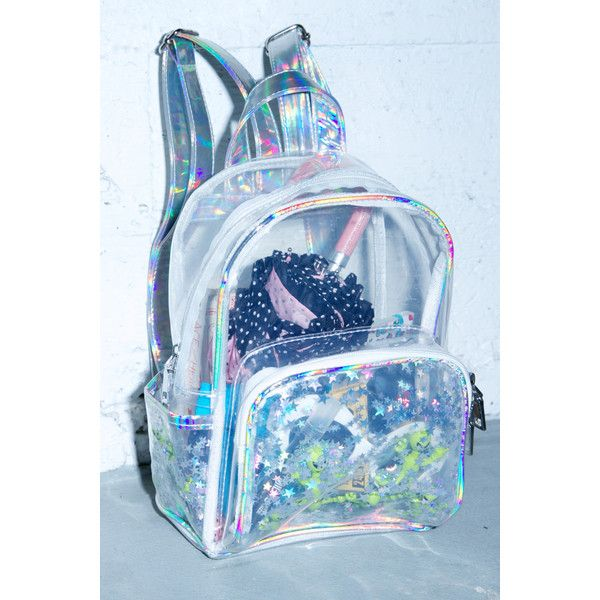 Aliens R Watchin' Backpack (€37) ❤ liked on Polyvore featuring bags, backpacks, clear backpack, backpack pouch, hologram bag, blue backpack and clear pouch