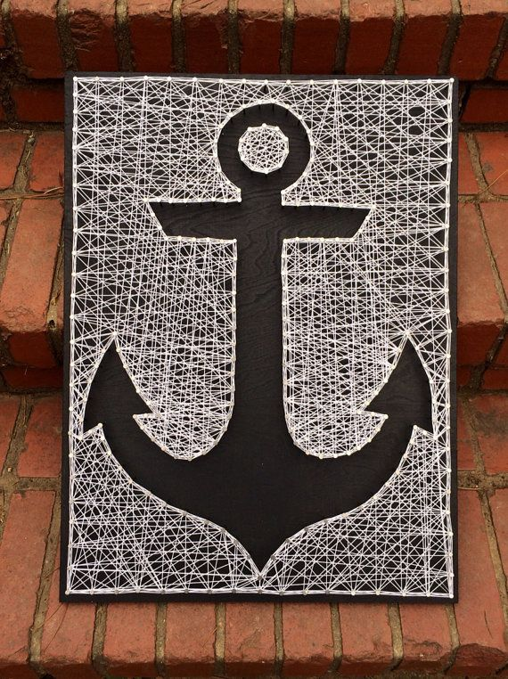 """Anchor string art • black painted board with white string • 18"""" x 24"""" • made by Magnolia Design"""