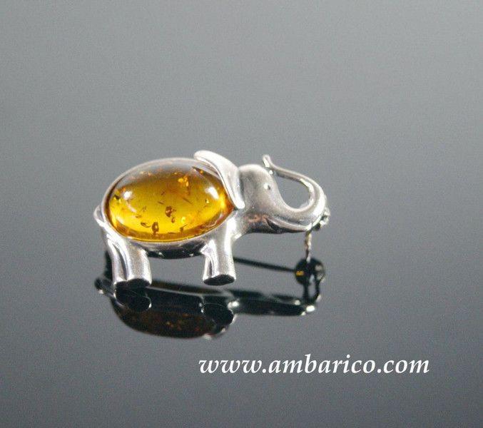 """Broche de plata 925 con ambar baltico """"Elefante"""" de www.ambarico.com por DaWanda.com"""