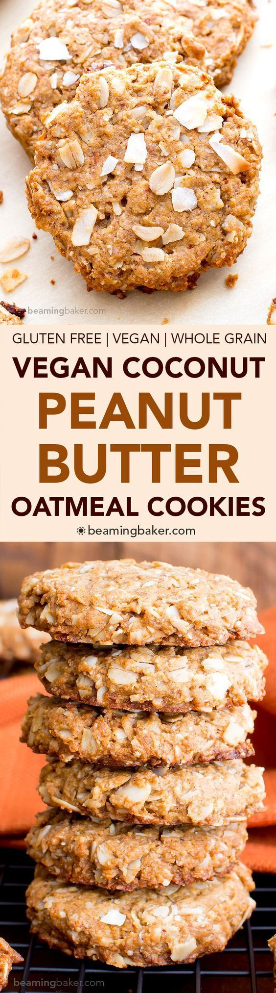 Peanut Butter Coconut Oatmeal Cookies (V, GF): an easy recipe for deliciously thick, chewy peanut butter cookies bursting with coconut and oats. #Vegan #GlutenFree #WholeGrain #OatFlour #DairyFree | http://BeamingBaker.com