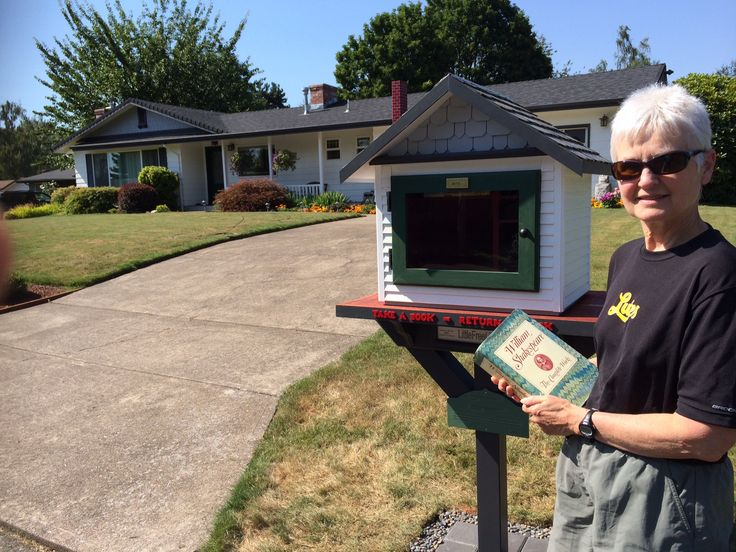 Charles Hammonds. Eugene, OR.  	 We live near a very popular bike trail that is used by many of our neighbors for riding, running and walking. Since we have a steady stream of passers by, it is a great location for a LFL. Our Little Free Library is a much smaller version of our house. Within an hour of installing our LFL we noticed a young girl browsing the books. She made her selection and waved as she walked away. The next day she returned for another book and left 5 books!