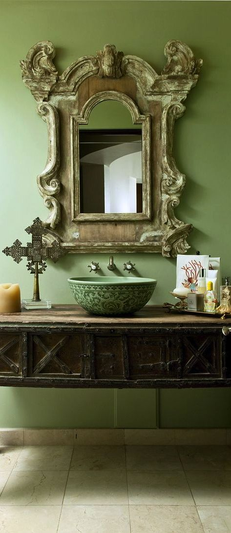 Picture Gallery For Website This green for my powder bath Vessel sink antique stand mirror create a unique bathroom Posted by Sandra Espinet of SE Design Services