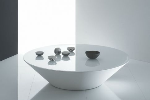 Pond in White Glass Coffee Table by Marco Acerbis for Acerbis space furniture