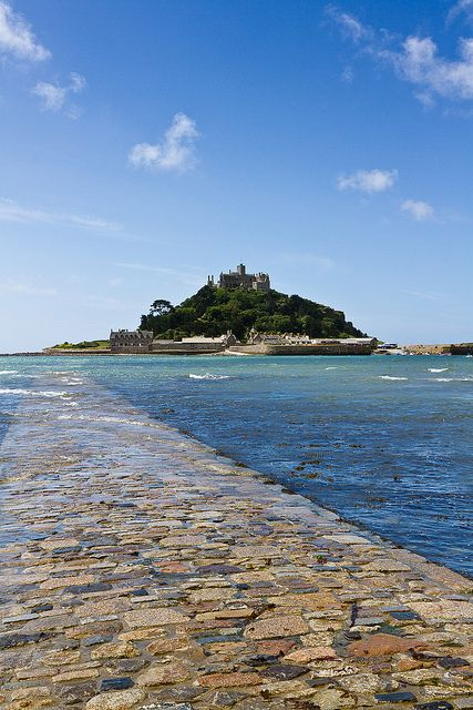 St. Michael's Mount, Cornwall, UK Really wish I had been able to walk the causeway (the path in the picture)