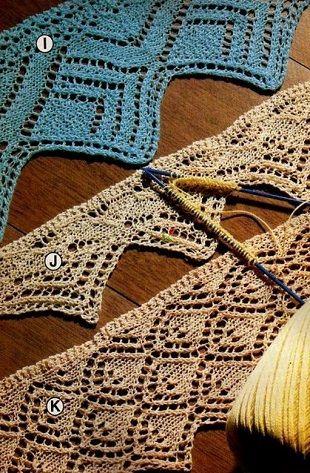 Подборка из трех узоров для вязания каймы спицами.