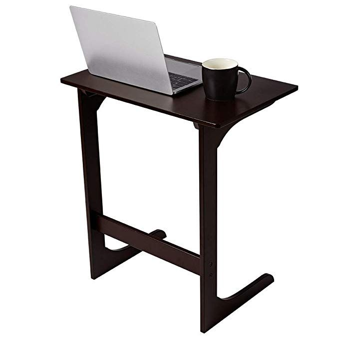 Amazon Com Langria Sofa Side Table Bamboo Wood Snack Table Coffee