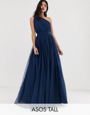 3876b3cc34ad DESIGN tall tulle one shoulder maxi dress in 2019 | Bridesmaids ...