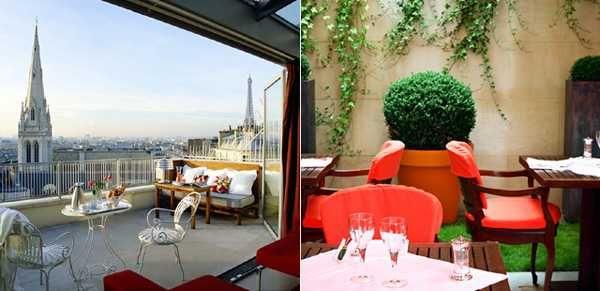 Hotel de Sers (Париж)  Хотите завтрак с видом на Сакре Кер и Ейфелеву башню одновременно? Тогда вам в Hotel de Sers, что в Париже. В нем всего 52 номера, а с верхних этажей можно наблюдать неописуемые пейзажи. Кстати, в этом отеле останавливалась сама Кети Перри:). Вообщем, сама дешевая комната здесь обойдется в 242 Евро в сутки.    Париж