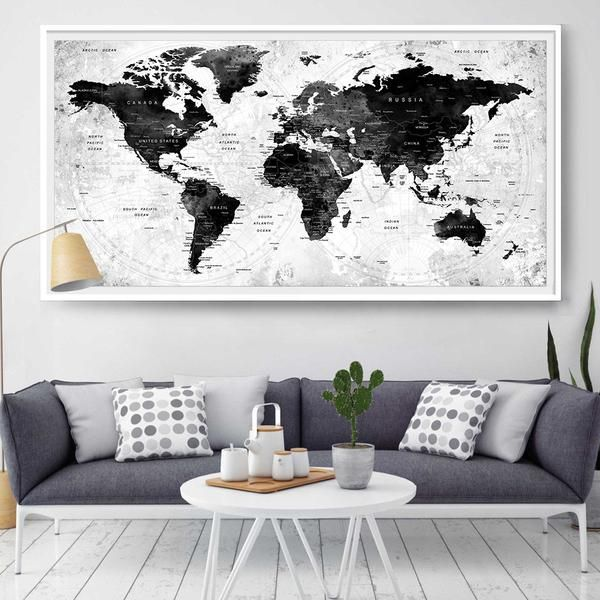 44 best extra large world map images on pinterest extra large large watercolor map world push pin travel cities wall black white gray home decor push gumiabroncs Images