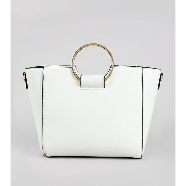 White Drawstring Ring Handle Tote Bag ($15) ❤ liked on Polyvore featuring bags, handbags, tote bags, white, white tote purse, tote hand bags, drawstring tote, white handbag and new look purses