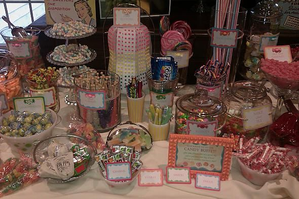 Retro ideas for Colleen's graduation candy buffet