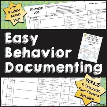 Looking for an organized system to track misbehaviors during the year and document how you followed through? Grab an empty binder and let's get started!Includes: 2 page Behavior Log (print one per student)This document tracks the date, misbehavior, teacher action/consequence, parental contact, written referral, and completion of a student action plan.