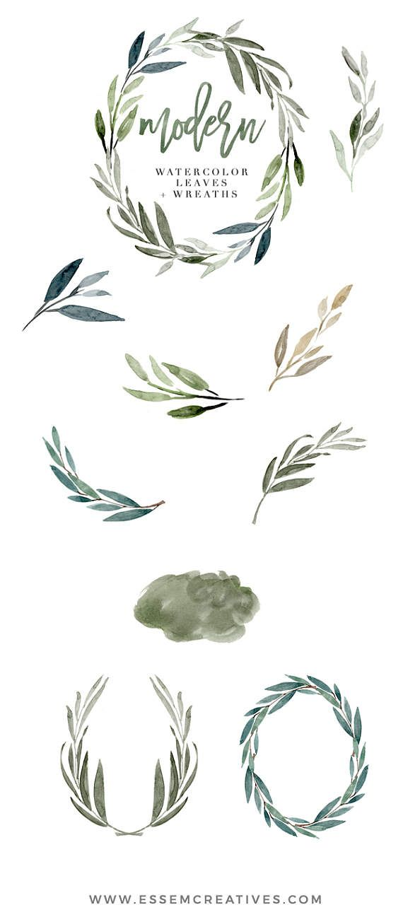 Watercolor Leaves Clipart, Modern Leaf Wreath, Green Branch, Eucalyptus Clipart, Garden wedding invitation, Rustic, Olive, Greenery clipartRomantic, elegant, fall, autumn, winter wedding invitations, DIY stationery Hi! Welcome to Essem Creatives! Modern is a set of hand painted Watercolor Leaves Clipart set. This set includes, delicate, modern looking watercolour graphics in various neutral and muted shades painted in a delicate, painterly style. These leaves, branches & wreaths are pe...