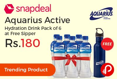 Snapdeal #Trending Product is offering Aquarius Active Hydration Drink 400ml Pack of 6 at Rs.180 Only. Free Stainless Steel Sipper Worth Rs 200. AQUARIUS is a new refreshing beverage with electrolytes that helps you to stay hydrated and enables you to stay at your 'Active' best throughout the day.   http://www.paisebachaoindia.com/aquarius-active-hydration-drink-400ml-pack-of-6-at-rs-180-only-snapdeal/