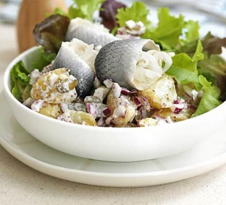 Warm potato & rollmop salad