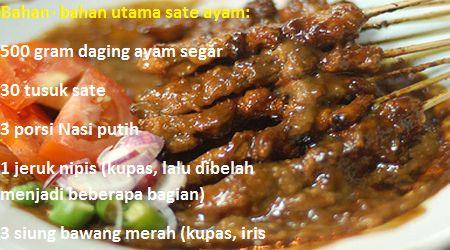 Resep Cara Membuat Sate Ayam Bumbu Kacang