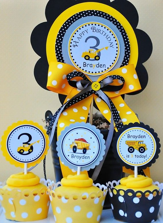 Custom Cupcake Toppers Construction Collection  by thepaperkingdom, $10.00