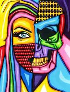 abstract-comic-half-skull-half-womans-face-original-art-painting-goth-colorful