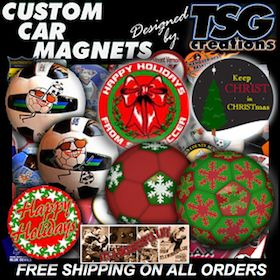 Custom Car Magnets. All holiday special #events & #Soccer #Basketball #Tournaments need #promotion. To get your #message on wheels with the best #value #impact in #CarMagnets, #decals, & #customballs - CALL http://www.TSGcreations.com - the REAL #tsgsports at http://www.TSGsports.com