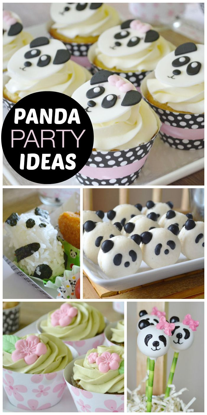 An adorable Panda tea party for a girl birthday with cute bento boxes, macarons, and cupcakes! See more party ideas at CatchMyParty.com!