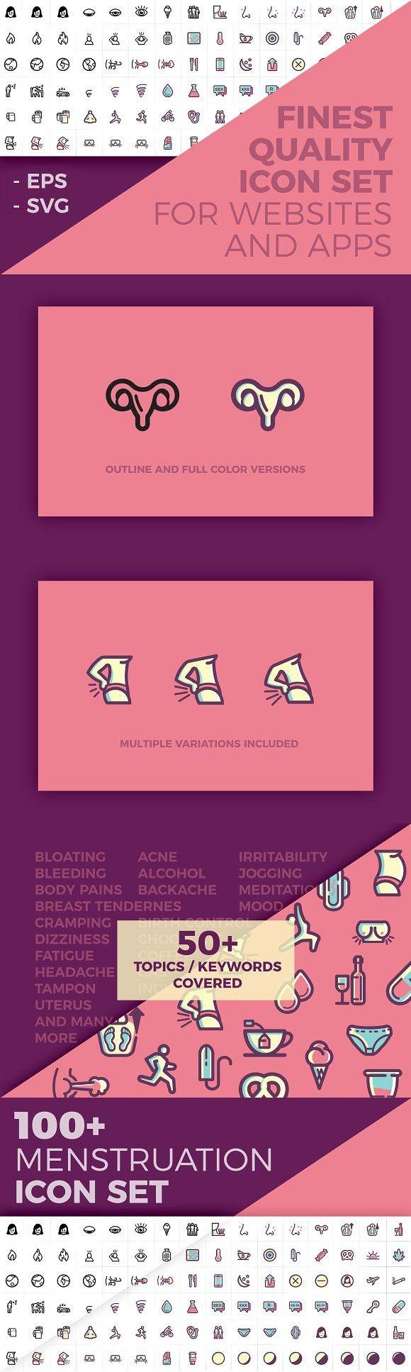 100+ Menstruation / Period Icon Set