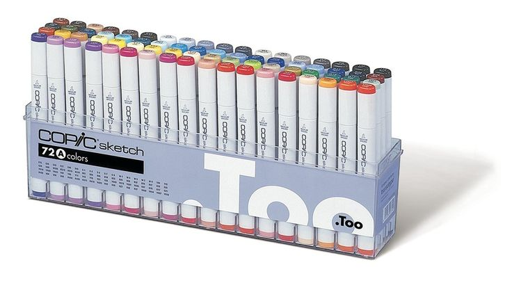 $393____ Copic Marker 72-Piece Sketch Set A.  Includes the basic colors commonly-used in the field of design.  These vivid colors have broad utility - Most of all, this set is ideal for use in illustration. For coloring portraits, or characters of manga, you will need to get some skin tone colors additionally.  Refillable markers and replaceable nibs, compatible with Copic air brush system Alcohol-based ink is permanent and non-toxic, dries acid-free.