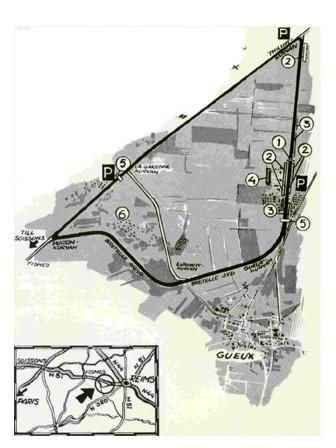 The Reims-Gueux circuit in the Champagne district used for the French Grand Prix in 1932, 1938-9 and 1950-51. The track length was approximately 7-8 km.