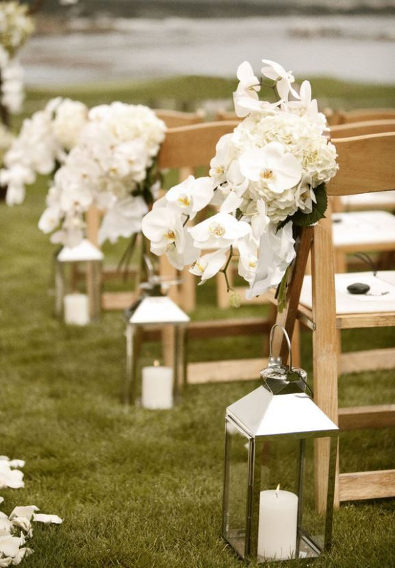 Outdoor Wedding Aisle Decorations Lanterns With White Candles Decor Pinterest And