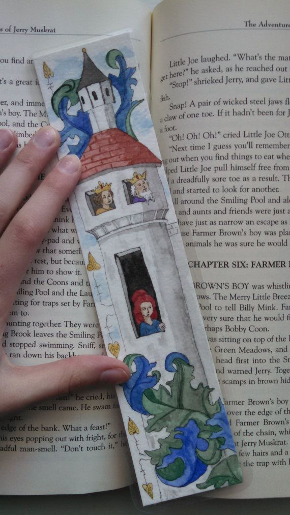 A king, a queen, and a maid in a tower!  This bookmark was inspired by an illustration in a medieval illuminated manuscript. From ElfScript on Etsy.