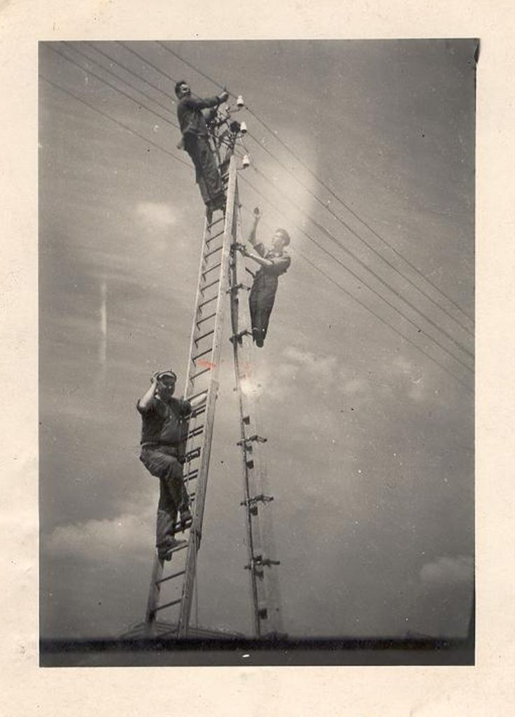Saint-Avold electric power distribution network workers, c 1930s