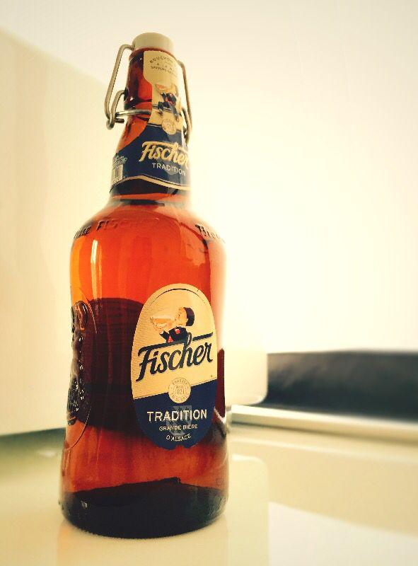"""fischer tradition, grande bière d'alsace w/ """"mignon"""" drinker"""