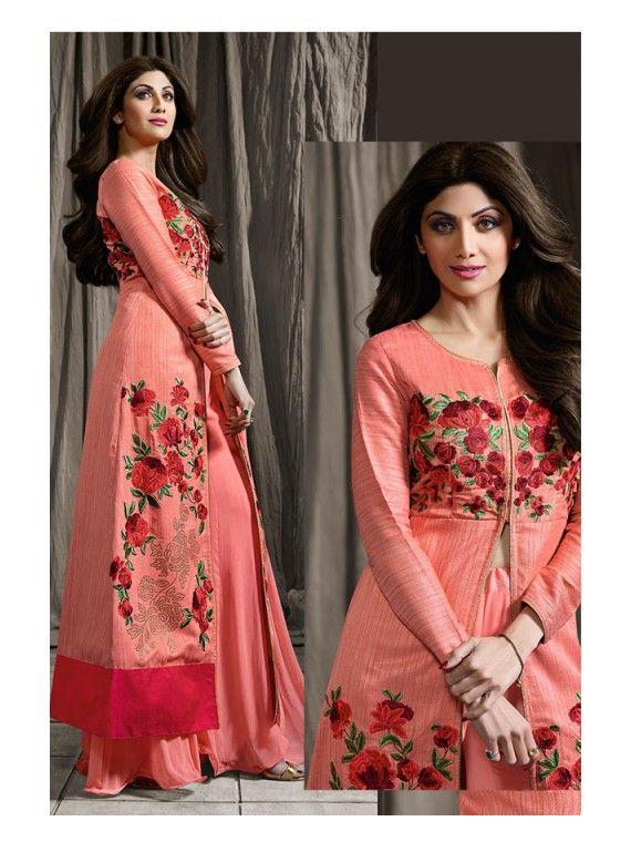 Precious Peach Long Shilpa Shetty Designer Lehenga Kameez